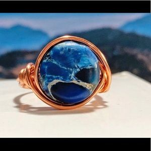 New Boho Blue Imperial Jasper Copper Wrapped Ring